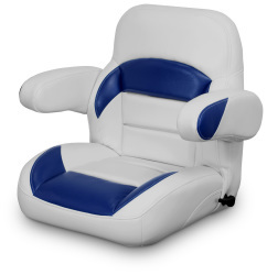 Low Back Reclining Helm Seat with Arms, Gray and Navy - Lexington Seats