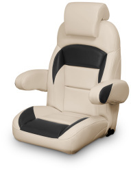High Back Reclining Helm Seat with Arms & Headrest, Tan and Black - Lexington Seats