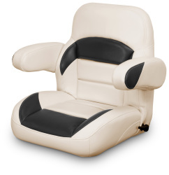Low Back Reclining Helm Seat with Arms, Tan and Black - Lexington Seats