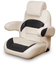 Low Back Reclining Helm Seat with Arms & Headrest, Tan and Black - Lexington Seats
