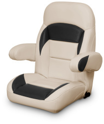 High Back Reclining Helm Seat with Arms, Tan and Black - Lexington Seats