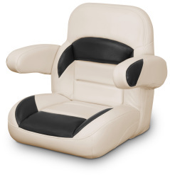 Low Back Non-Reclining Helm Seat with Arms, Tan and Black - Lexington Seats