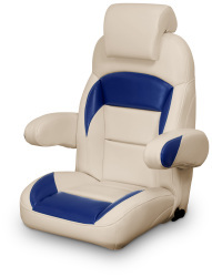 High Back Reclining Helm Seat with Arms & Headrest, Tan and Navy - Lexington Seats