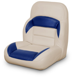 Low Back Non-Reclining Helm Seat, Tan and Navy - Lexington Seats