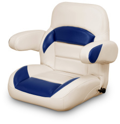 Low Back Reclining Helm Seat with Arms, Tan and Navy - Lexington Seats