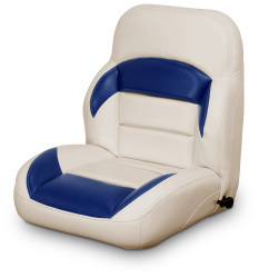 Low Back Reclining Helm Seat, Tan and Navy - Lexington Seats