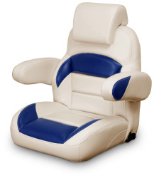 Low Back Reclining Helm Seat with Arms & Headrest, Tan and Navy - Lexington Seats