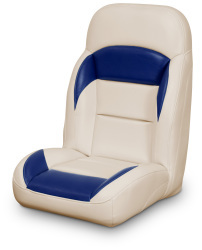 High Back Reclining Helm Seat, Tan and Navy - Lexington Seats