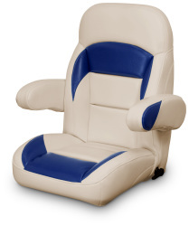 High Back Reclining Helm Seat with Arms, Tan and Navy - Lexington Seats