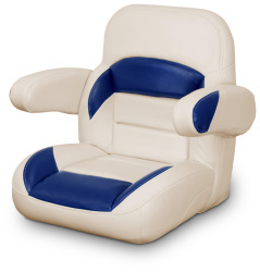 Low Back Non-Reclining Helm Seat with Arms, Tan and Navy - Lexington Seats