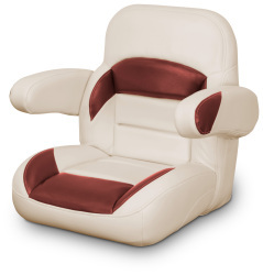 Low Back Non-Reclining Helm Seat with Arms, Tan and Red - Lexington Seats
