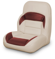 Low Back Non-Reclining Helm Seat, Tan and Red - Lexington Seats