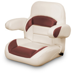 Low Back Reclining Helm Seat with Arms, Tan and Red - Lexington Seats