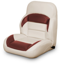 Low Back Reclining Helm Seat, Tan and Red - Lexington Seats