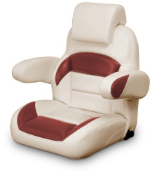 Low Back Reclining Helm Seat with Arms & Headrest, Tan and Red - Lexington Seats