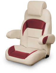 High Back Reclining Helm Seat with Arms & Headrest, Tan and Red - Lexington Seats