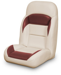 High Back Reclining Helm Seat, Tan and Red - Lexington Seats