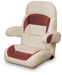 High Back Reclining Helm Seat with Arms, Tan and Red - Lexington Seats