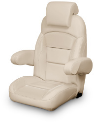 High Back Reclining Helm Seat with Arms & Headrest, Tan - Lexington Seats