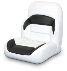 Low Back Non-Reclining Helm Seat, White and Black - Lexington Seats