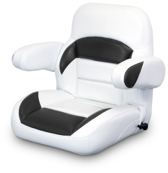 Low Back Reclining Helm Seat with Arms, White and Black - Lexington Seats