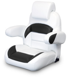 Low Back Reclining Helm Seat with Arms & Headrest, White and Black - Lexington Seats