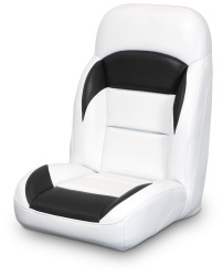 High Back Reclining Helm Seat, White and Black - Lexington Seats