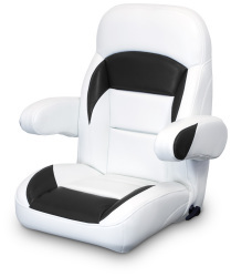 High Back Reclining Helm Seat with Arms, White and Black - Lexington Seats
