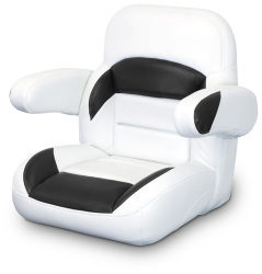 Low Back Non-Reclining Helm Seat with Arms, White and Black - Lexington Seats