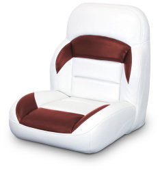 Low Back Non-Reclining Helm Seat, White and Red - Lexington Seats