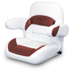 Low Back Reclining Helm Seat with Arms, White and Red - Lexington Seats