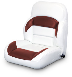Low Back Reclining Helm Seat, White and Red - Lexington Seats