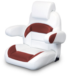 Low Back Reclining Helm Seat with Arms & Headrest, White and Red - Lexington Seats