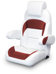 High Back Reclining Helm Seat with Arms & Headrest, White and Red - Lexington Seats