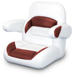 Low Back Non-Reclining Helm Seat with Arms, White and Red - Lexington Seats