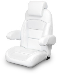 High Back Reclining Helm Seat with Arms & Headrest, White - Lexington Seats
