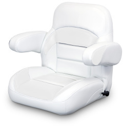 Low Back Reclining Helm Seat with Arms, White - Lexington Seats