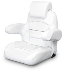 Low Back Reclining Helm Seat with Arms & Headrest, White - Lexington Seats