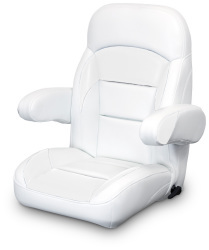 High Back Reclining Helm Seat with Arms, White - Lexington Seats