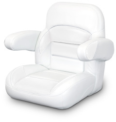 Low Back Non-Reclining Helm Seat with Arms, White - Lexington Seats