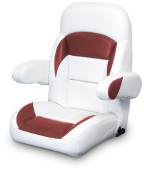 High Back Reclining Helm Seat with Arms, White and Red - Lexington Seats