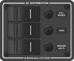 PANEL H2O CB 12VDC 3 POS VERT - Blue Sea Systems